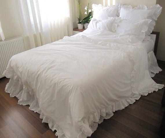 Shabby Chic Pintuck Bedding Full Queen King Ruffled Duvet Cover