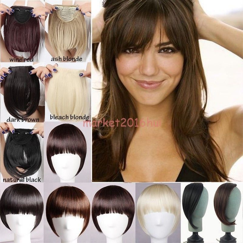 Pin On Clip In Bangs Fringe Fake Hair Extensions Brown Blonde Straight Front Hair Bang