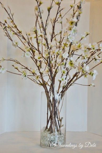 Pottery Barn Inspired Faux Cherry Blossom Branches Cherry Blossom Vase Flower Vase Arrangements Vase With Branches