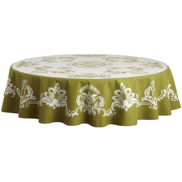 Pier One Damask Round Tablecloth   Clove ($60) ❤ Liked On Polyvore