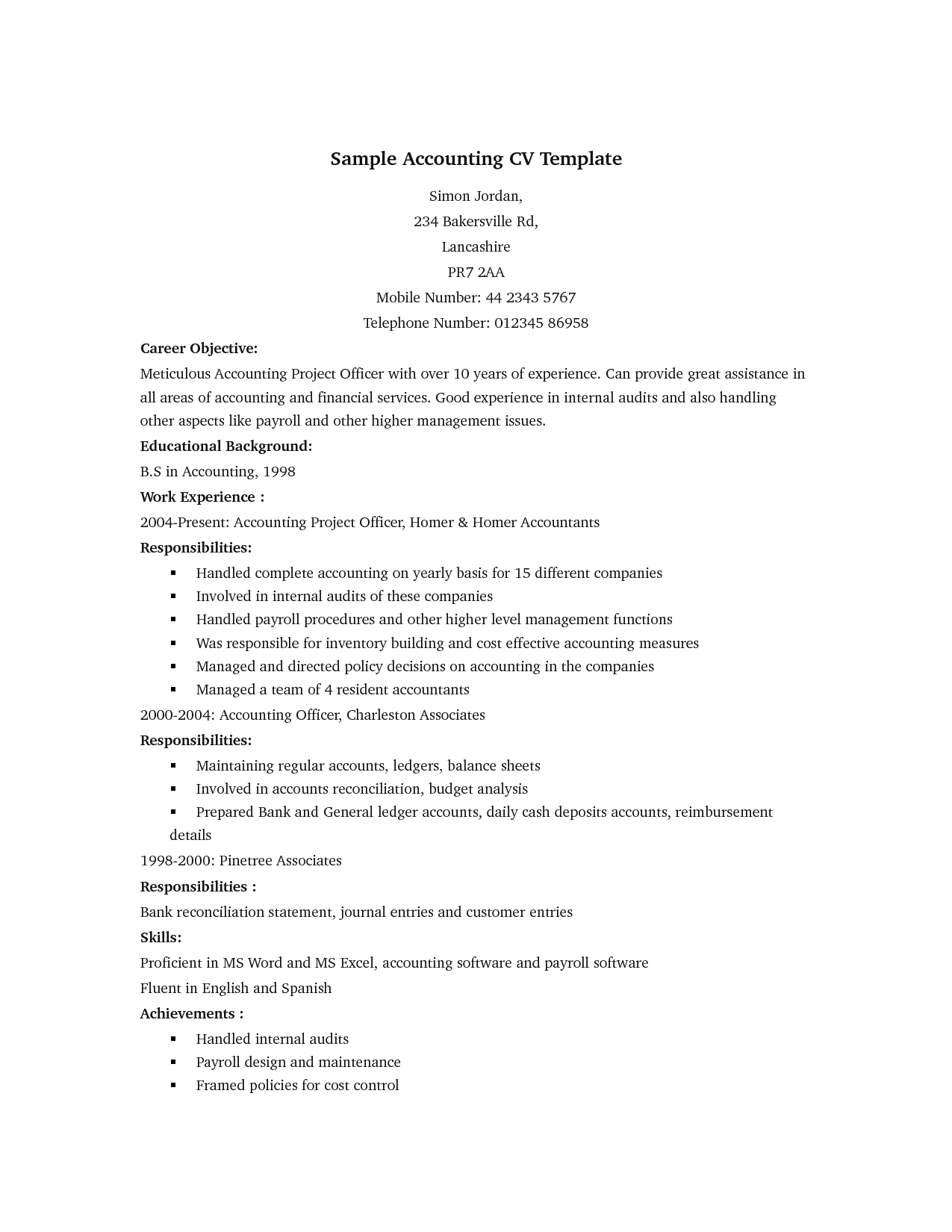 Sample Accounting Cv  Cv Examples    Resume Words