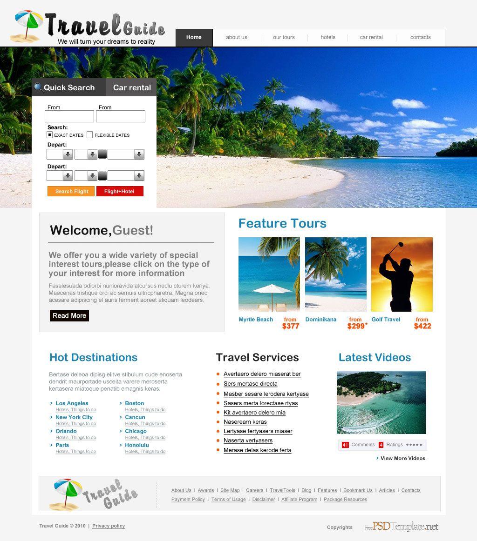 Free Travel Agency Psd Web Template Psd Template Free Free Psd Template Website Travel Agency