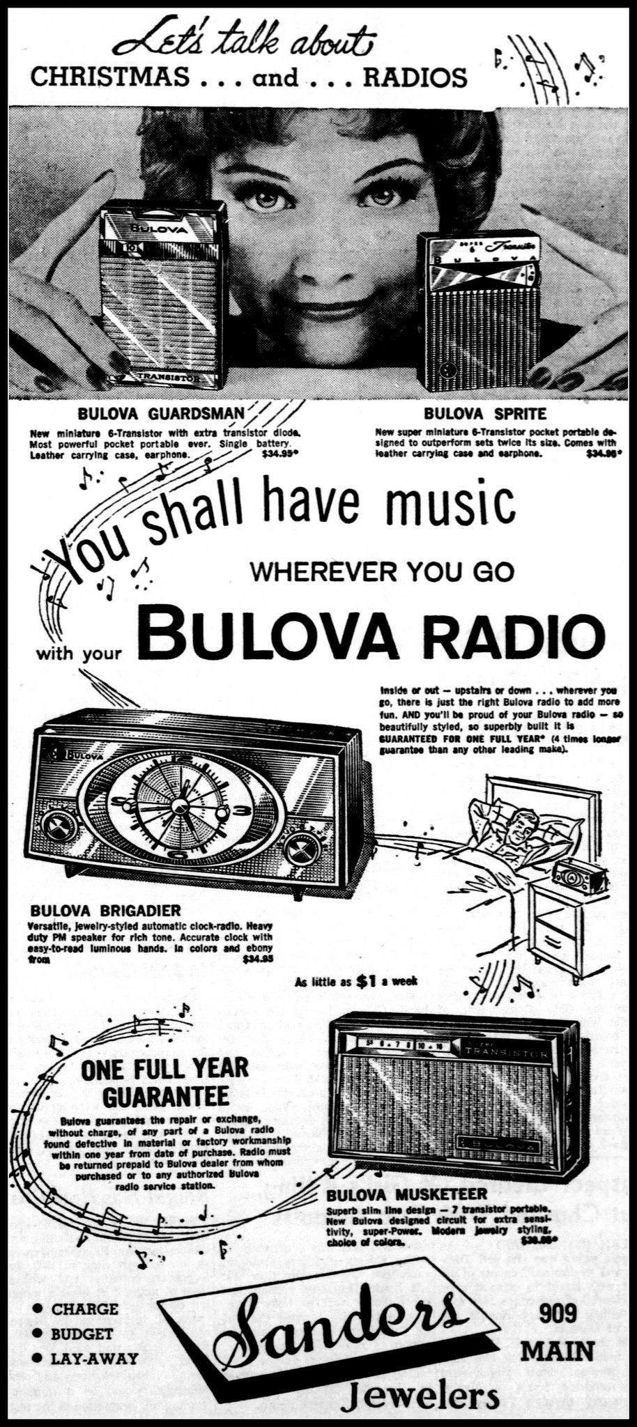 Advertising For The Bulova Series 740 Sprite Transistor Radio And One Other Radios In Richmond Indiana Palladium Item Newspaper November 29