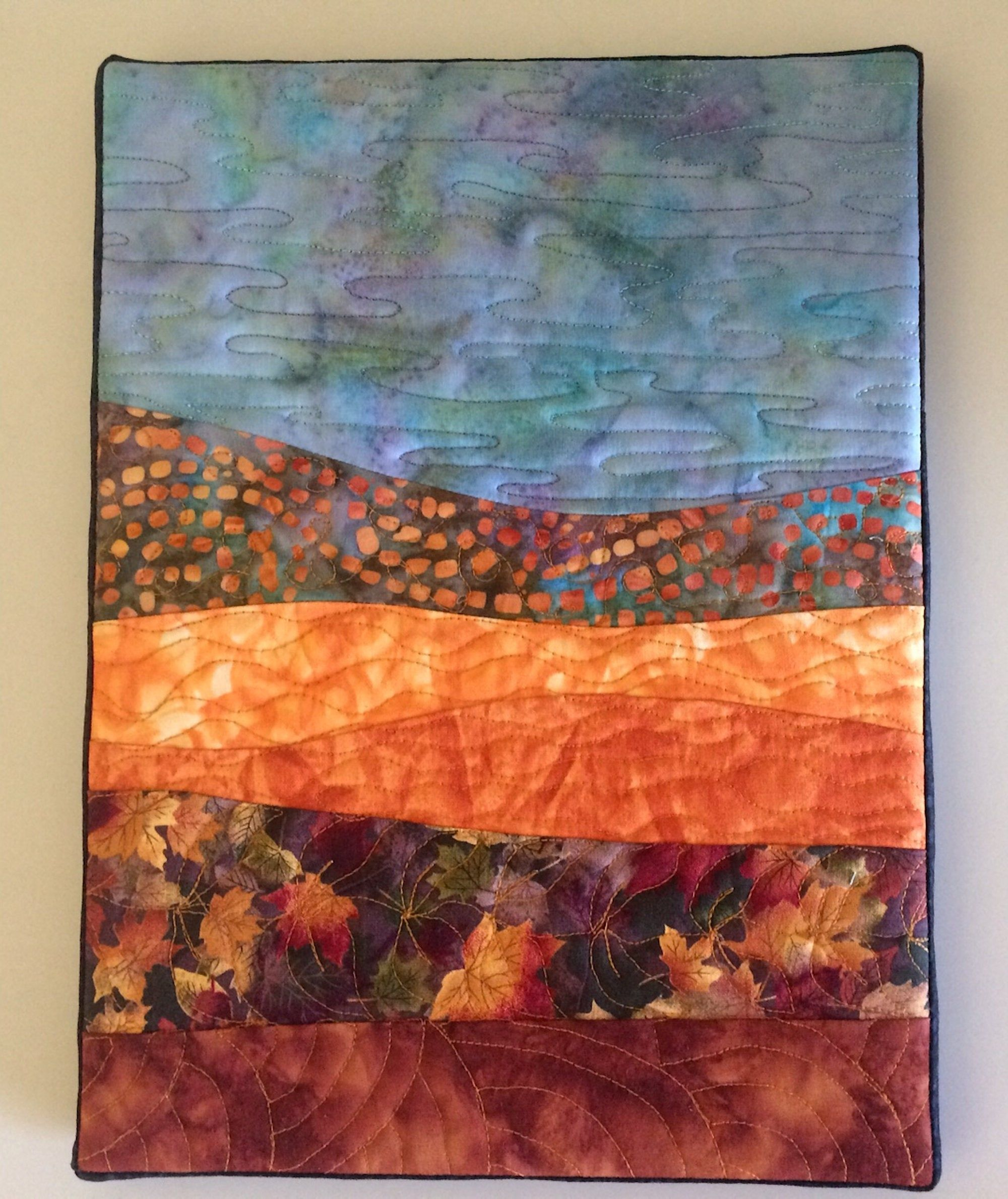 Abstract fall landscape mini quilt canvas mounted small