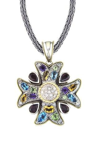 Balissima cross pendant with sapphires tcw l effy for Bellissima jewelry moschitto designs