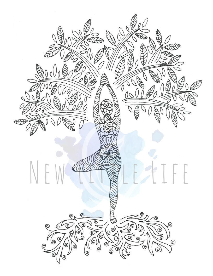 Tree Of Life Coloring Page Digital Download Adult Coloring