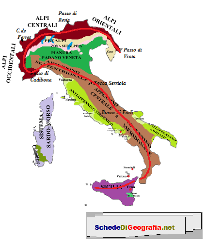 Cartina Dellitalia Alpi E Appennini.Alpi Ed Appennini Formano Una Grande S Attivita Geografia Le Idee Della Scuola Come Studiare