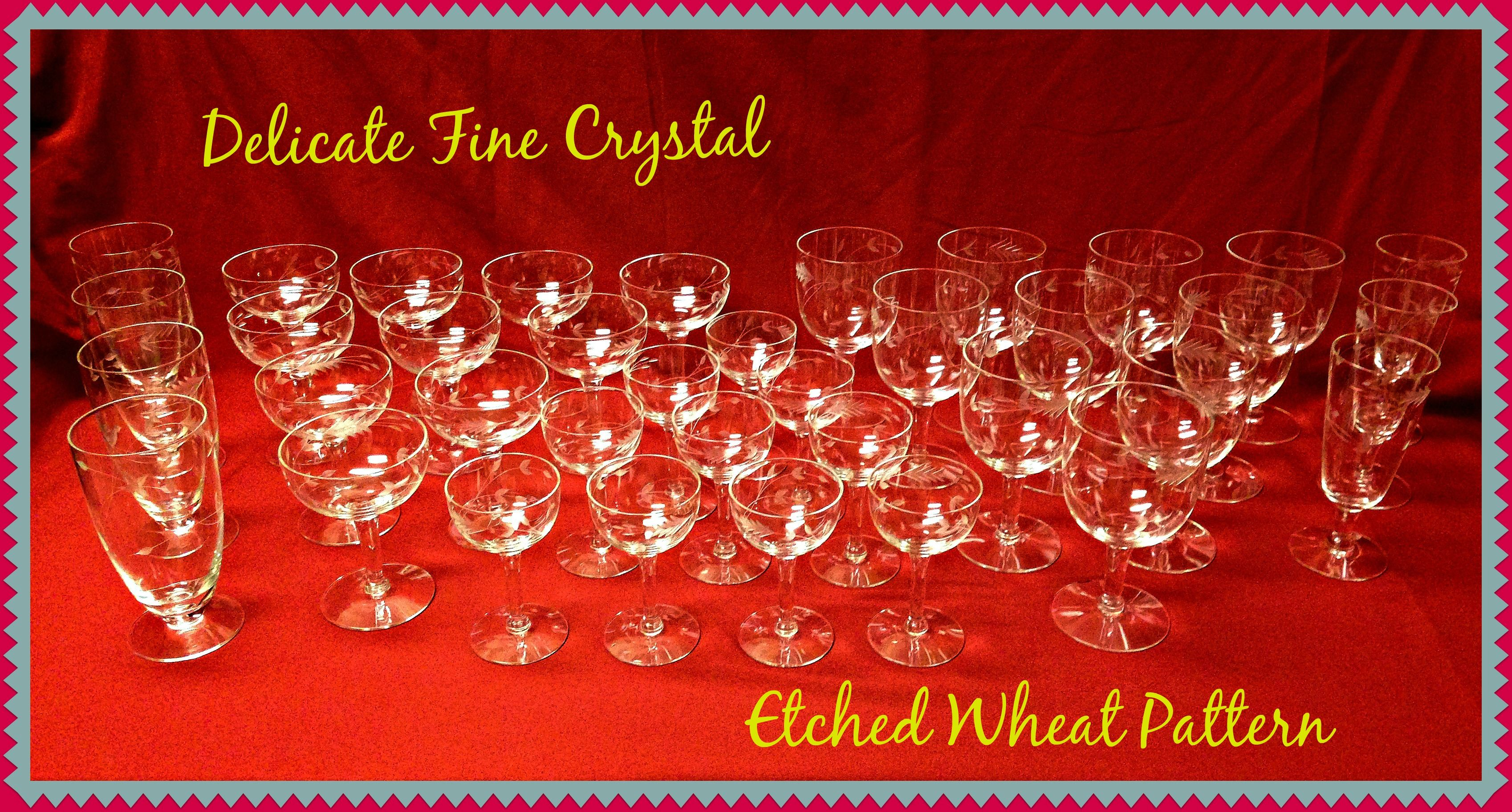 Vintage Set Of Delicate Fine Crystal Glassware There Are 37 Pieces Of  Various Glassware And 8 · Crystal GlasswareHousehold ItemsLake Charles ...
