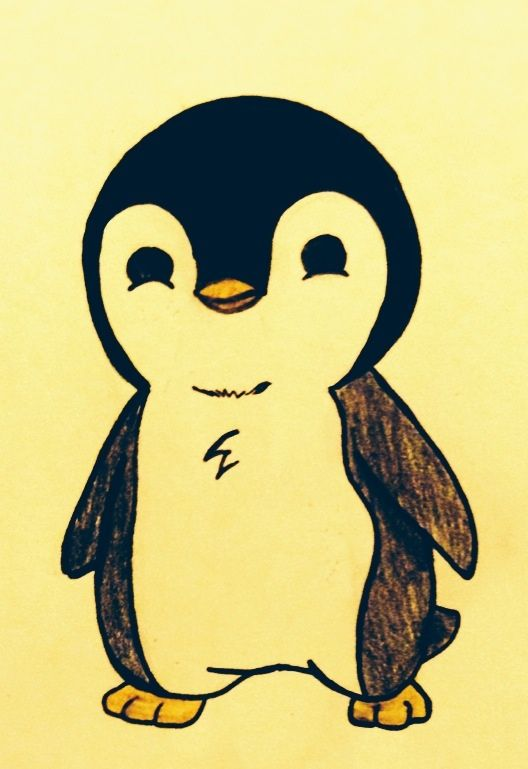 Penguin Drawing Easy Cute : penguin, drawing, Draw,, Would, Adorable, Tattoo, Penguin, Drawings,, Drawing,