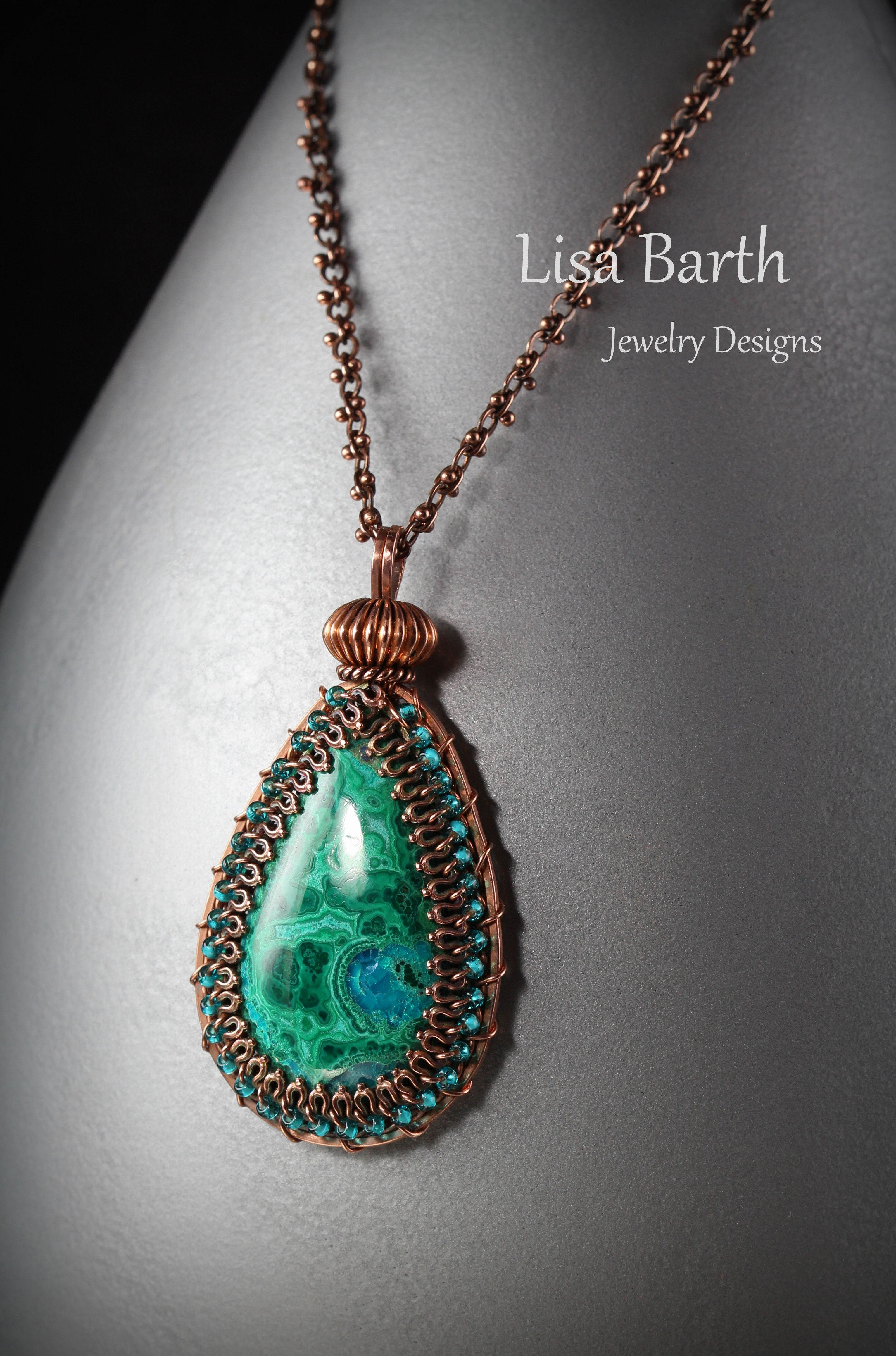 Hand made with copper and Chrysocolla/Malachite cab. Lisa Barth ...