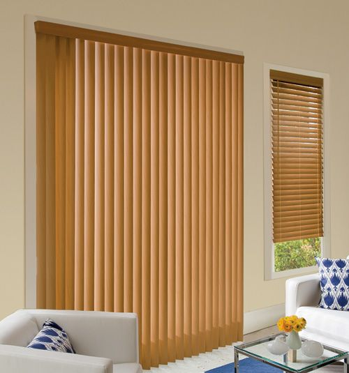 Matching Vertical And Horizontal Blinds Light Wood In Living Room