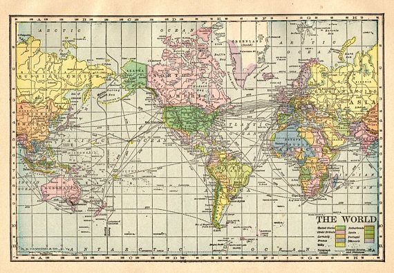 1910 Antique WORLD Map Vintage Map Of The World Gallery Wall Art ...
