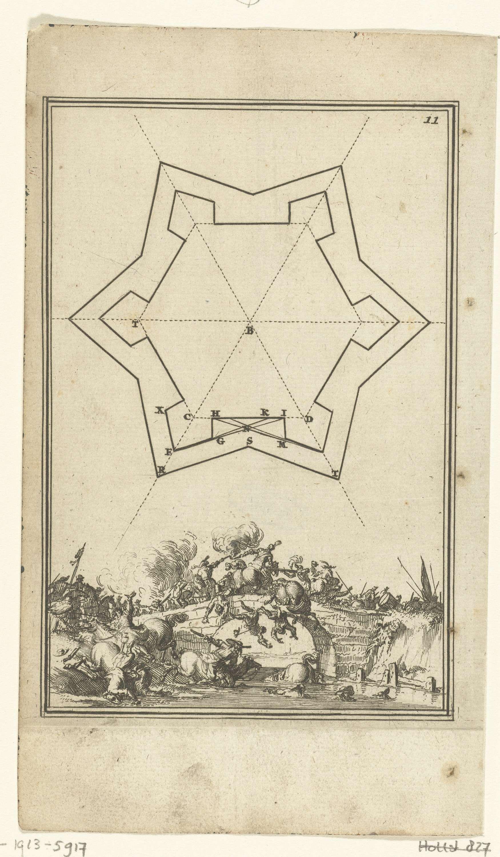 Romeyn de Hooghe | Illustratie voor 'Den Arbeid van Mars' van Allain Manesson Mallet, Romeyn de Hooghe, 1672 | Grondplan voor een vesting, fort of versterking (zeshoek). Daaronder een gevecht tussen ruiters op een brug. In de hoek rechtsboven het cijfer 11 (= het nummer van de pagina in het boek waartegenover de illustratie geplaatst is).
