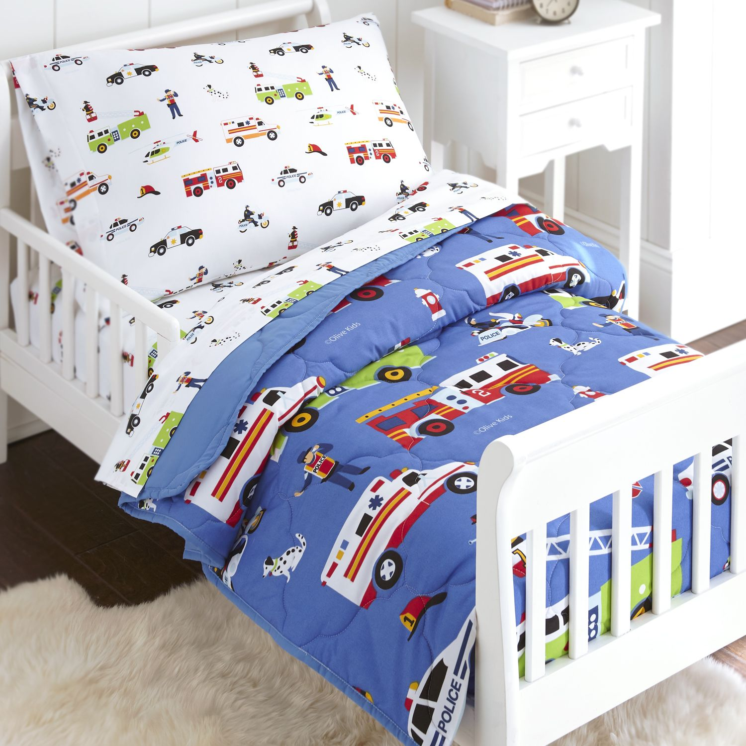Olive Kids Heroes Police Fire Toddler Size 4 Piece Bed In