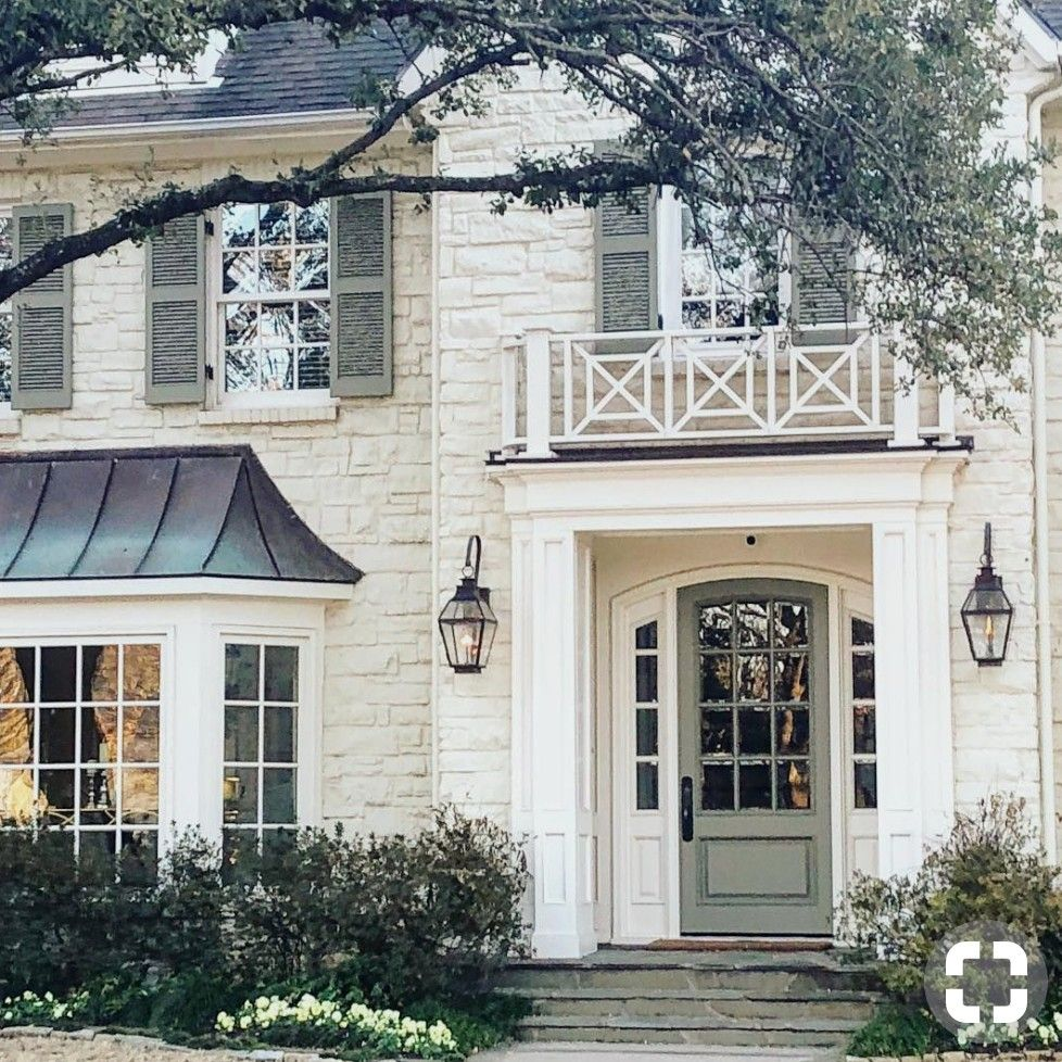 Cream house white trim tan gray shutters house in 2019 exterior house colors house design - White house green trim ...