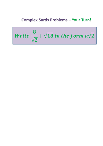Complex-Surds---writing-in-specific-forms.docx | Maths (Number ...