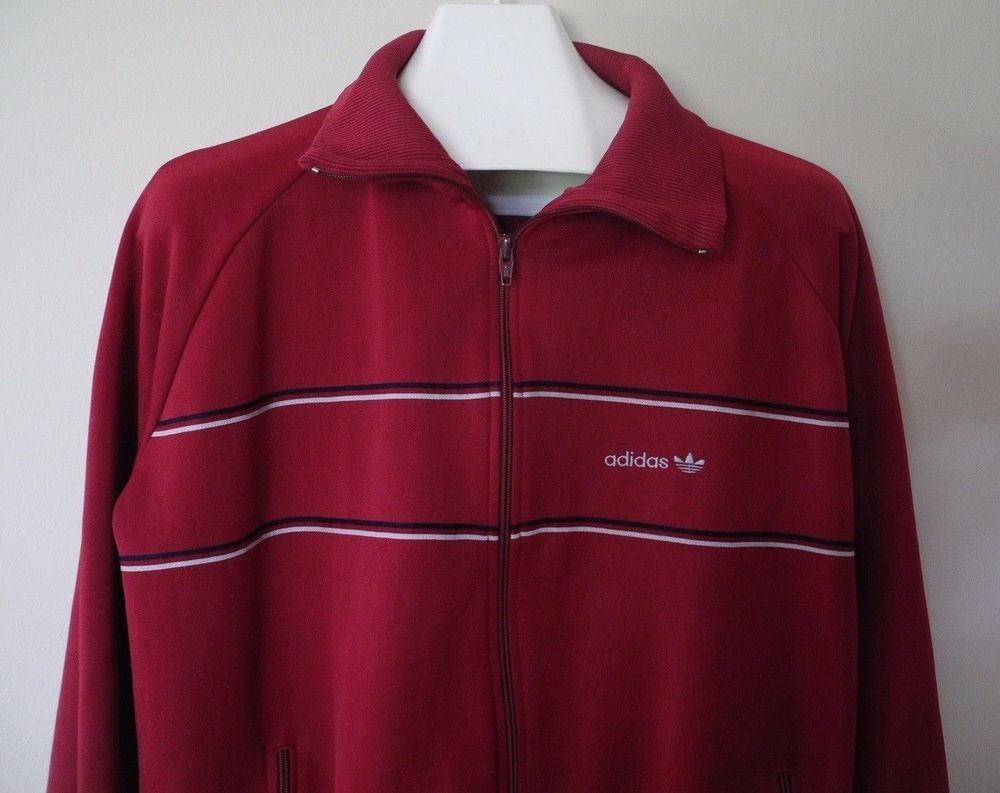 Vintage s adidas track tennis jacket full zip up maroon red unlined xl