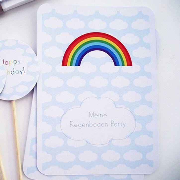 Regenbogen+Party+Einladungskarten