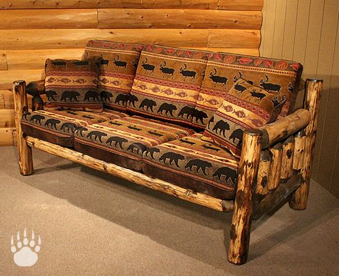 Rustic Sofas Logheads Grizzly Log Couch Sofa Upholstered