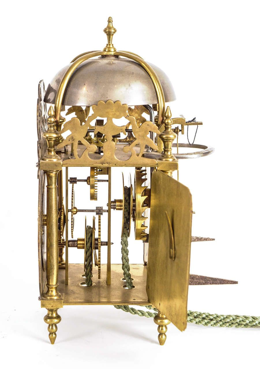 A Small French Brass Alarm Lantern Clock J Roussel A
