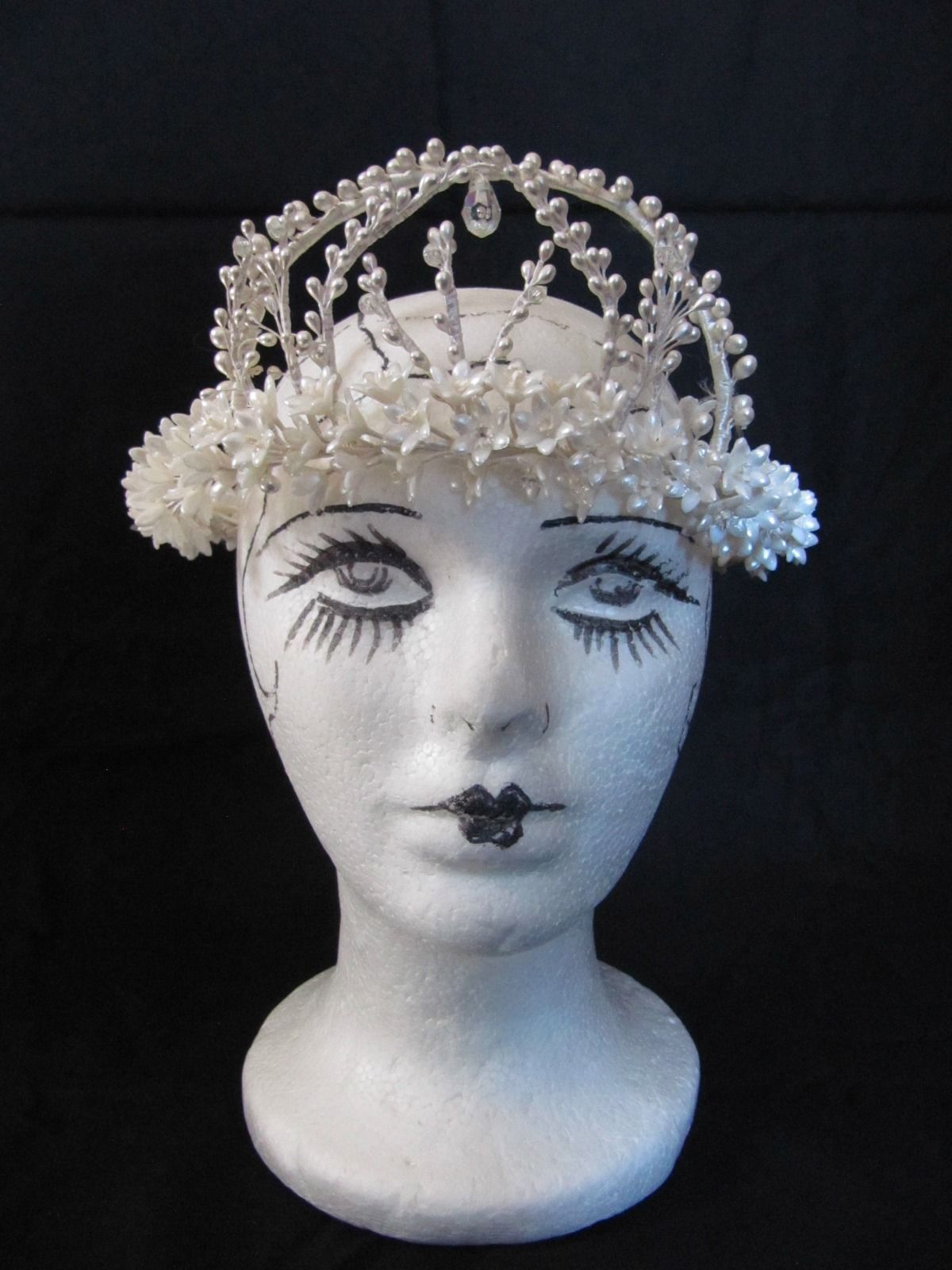 1920s Wedding Wax Flower Crown\u2014Orange Blossom