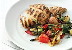 Grilled Chicken and Ratatouille Recipe   at Epicurious.com    Super Healthy  2 zucchini  1 eggplant  1 red bell pepper  1 red onion  2 tomatoes  6 boneless skinless chicken breasts - olive oil, basil and red wine vinegar - that's it!!!! SO HEALTHY
