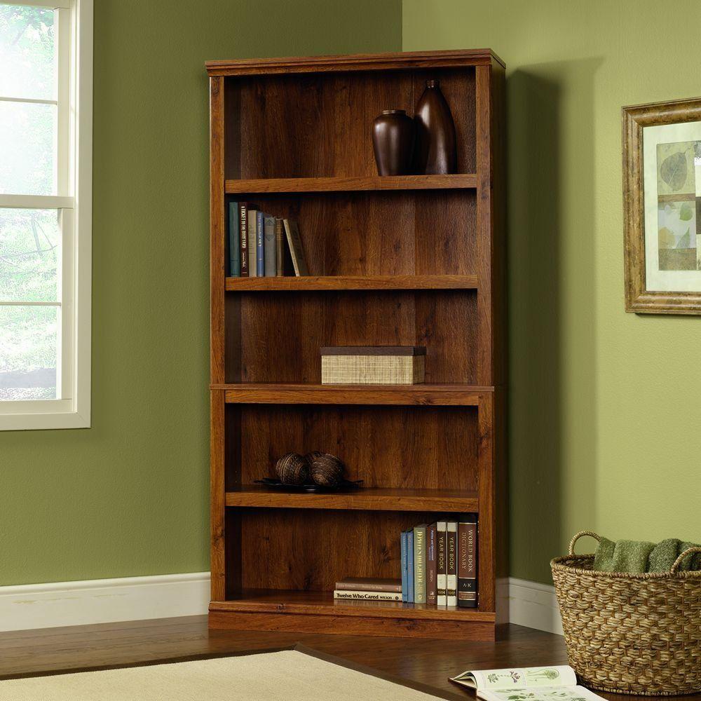 Sauder 5Shelf Bookcase, Oiled Oak Finish