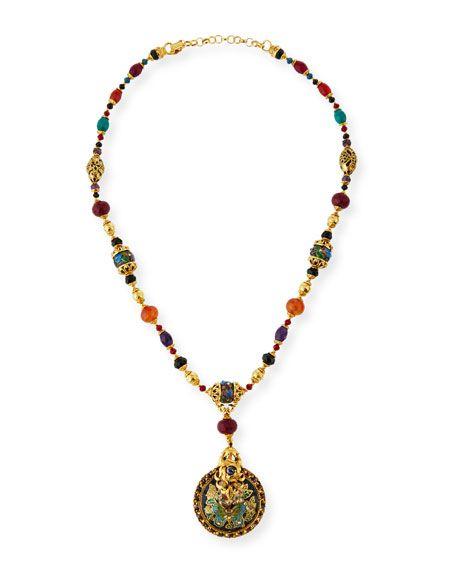 Jose & Maria Barrera Dyed Jade & Cloisonné Bead Pendant Necklace 7cFnYtEsb5