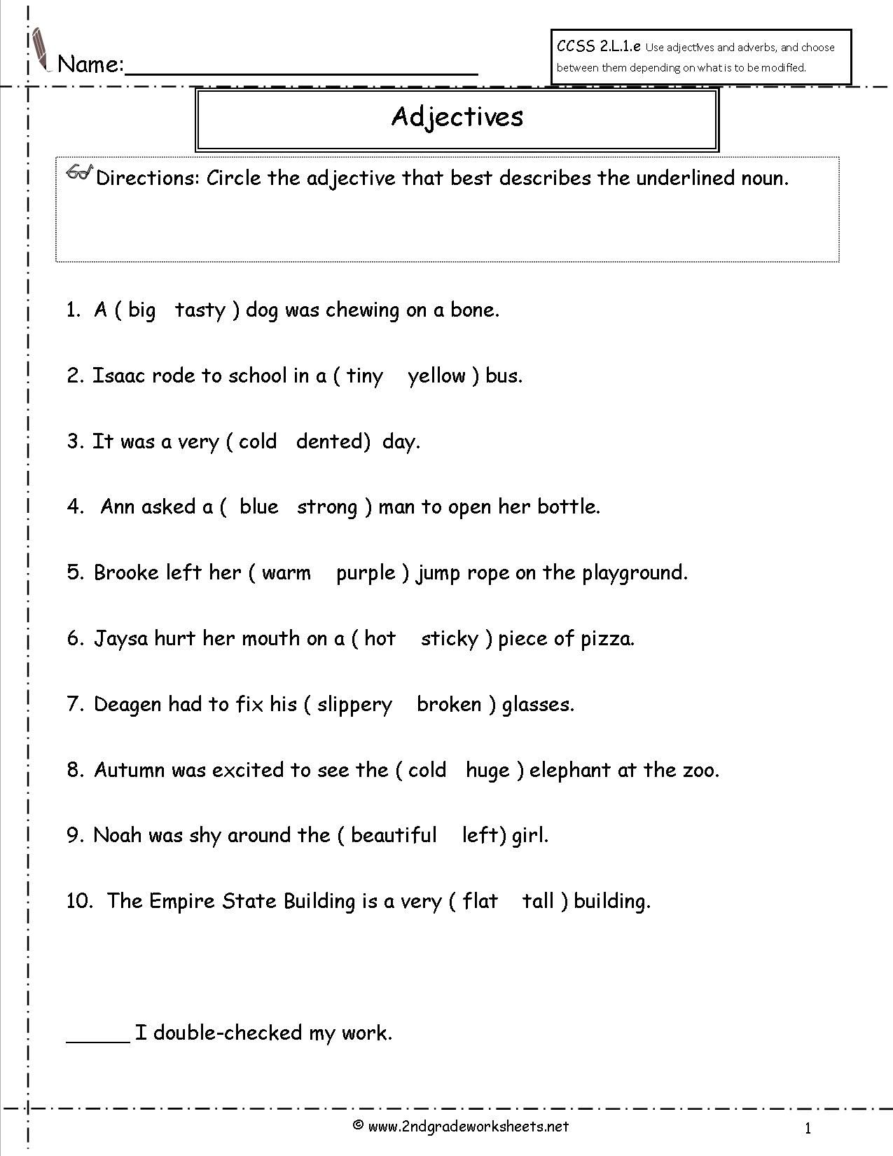 Adjectives Worksheet Word Work Pinterest English Grammar