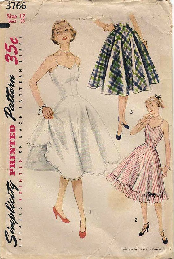 1950s Simplicity 3766 Vintage Sewing Pattern Misses Full Slip and ...