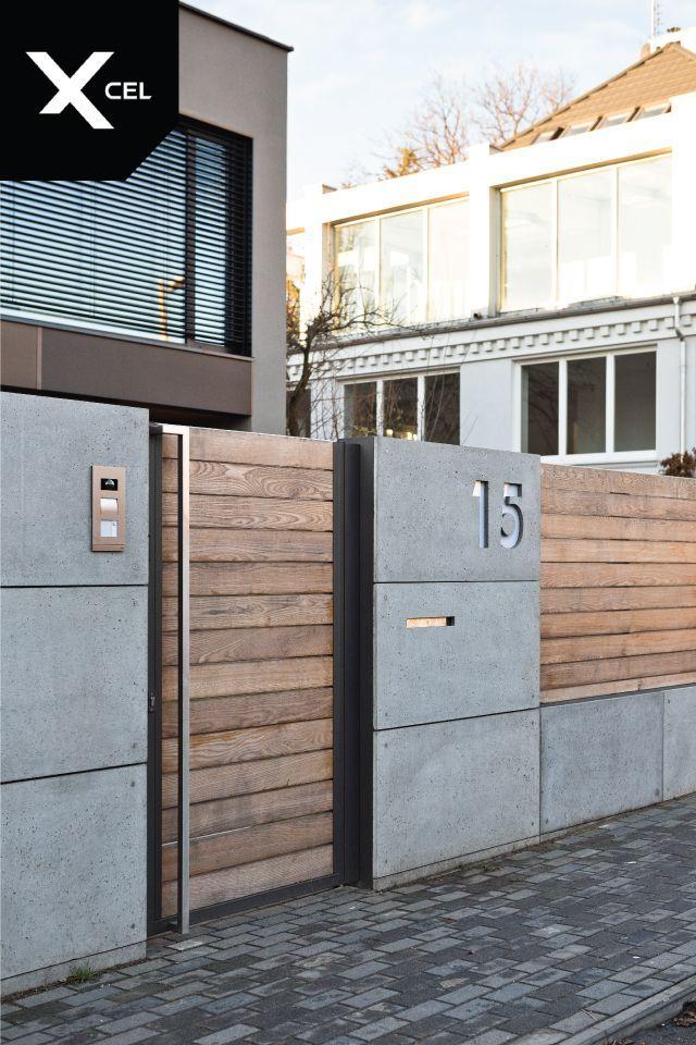 Moderner, minimalistischer Zaun - Rockina Cubero (Architekturbeton) und Holz #privacylandscaping