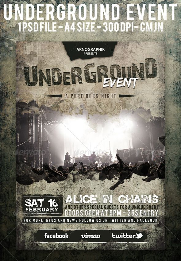 Underground Event Flyer A  Event Flyers A And Latest Fonts