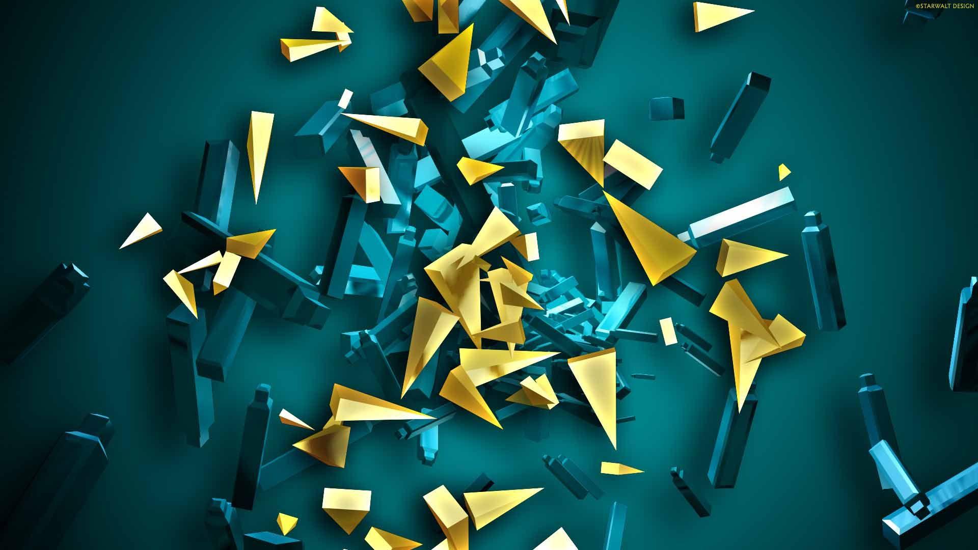3D Abstract Blue Yellow Backgrounds Wallpapers HD Desktop