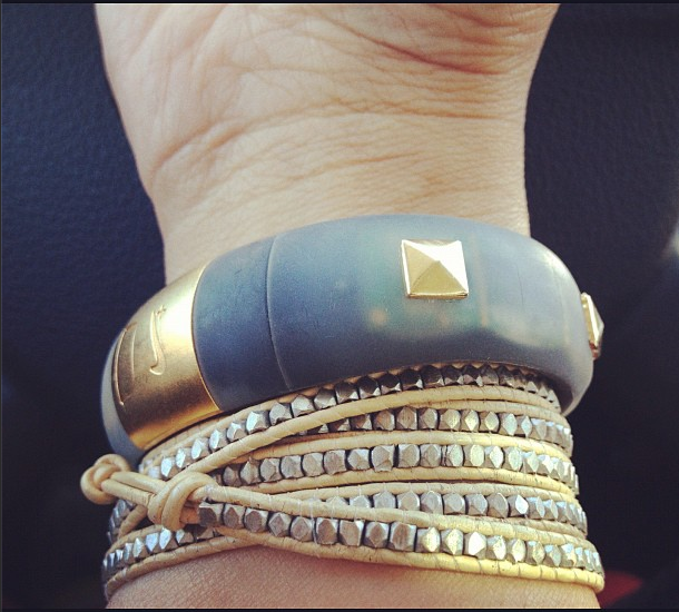 Gold studded FuelBand Ice. #armparty #diy #style #nike