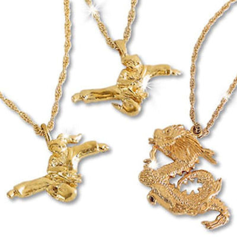 14K Gold Plated Necklace Martial Arts Karate c13475