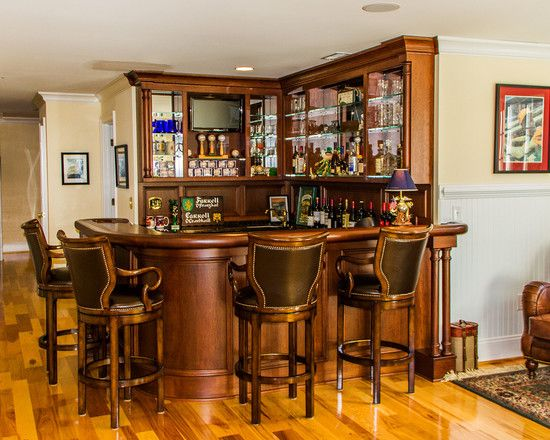 Irish Pub Basement Design Basement Wood L Shape