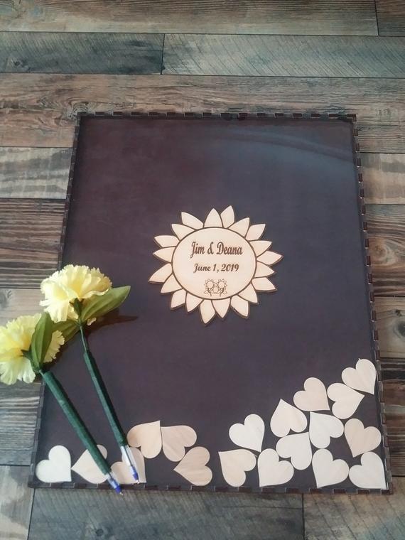 Wedding guest book alternative,Wedding guestbook,Guest book hearts,Rustic Wedding guest book,Drop box Guest Book, Sunflower guest book #weddingguestdress