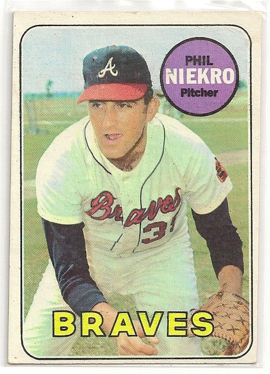 Baseball card of my one of my childhood baseball heroes, Hall of Fame knuckleballer Phil Niekro.  I don't know how I managed not to injure my brother, who played catcher on those occasions I thought I could throw one.