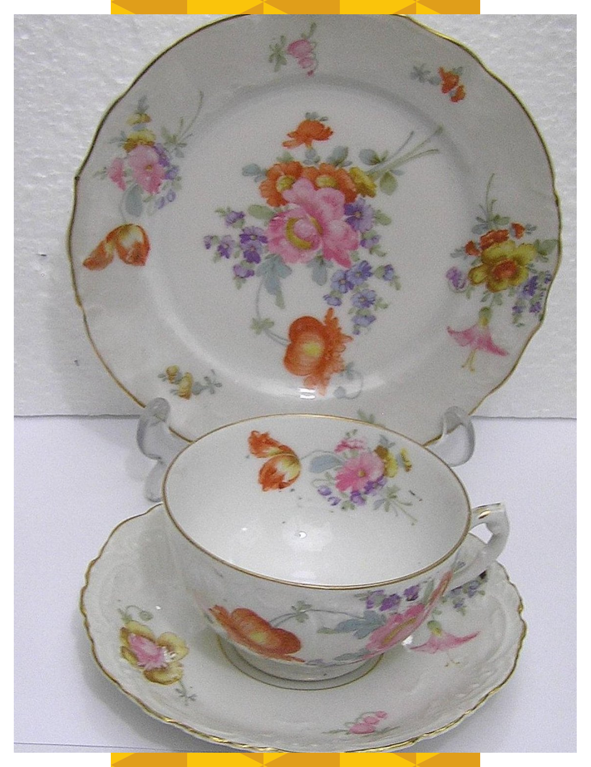 Vintage Art Deco Merkelsgrun Porcelain Austria Fine Bone China Trio Floral Pattern Embossed 19141918br Art