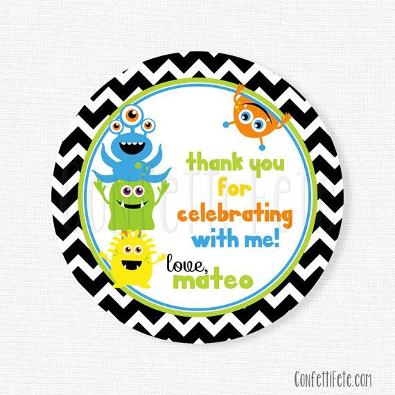 Little Monster Favor Tags, Monster Gift Tag, Little Monster Birthday Tag, Thank You Tags, Monsters Tag, Boy Birthday Favors, Personalized