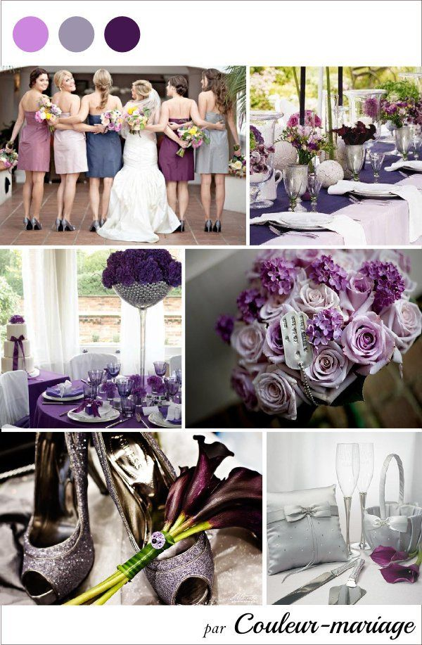 Mariage violet gris argent couleur mariage inspiration for Decoration salon argente