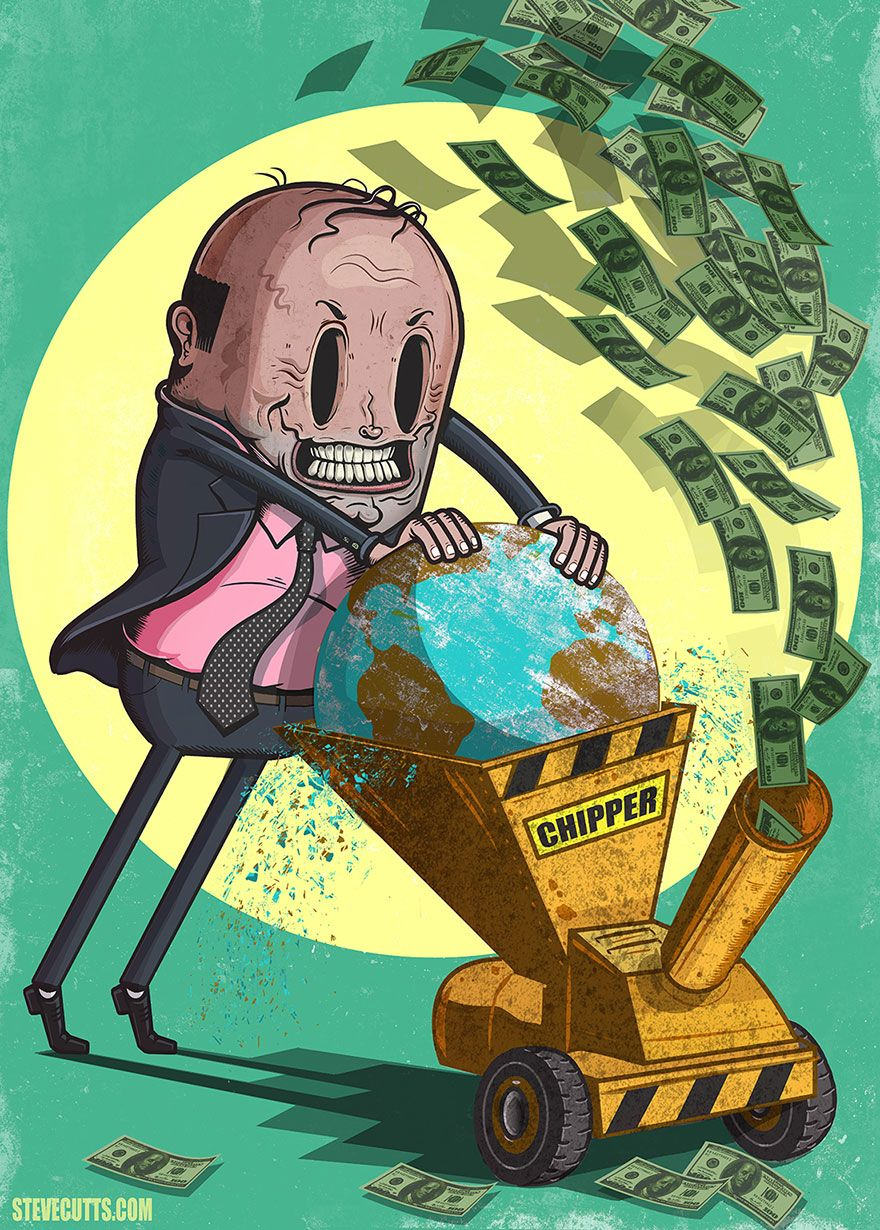 L'horrible et triste réalité du monde moderne, par Steve Cutts Caricatures, Graffiti, Satirical Illustrations, Save Our Earth, Political Art, Environmental Art, Grafik Design, Climate Change, Cool Pictures