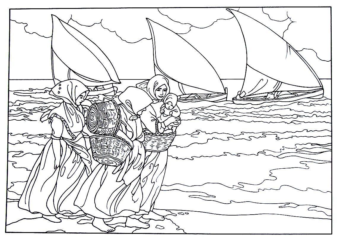 Three Sails painting by Joaquin Sorolla y Bastida printable coloring ...