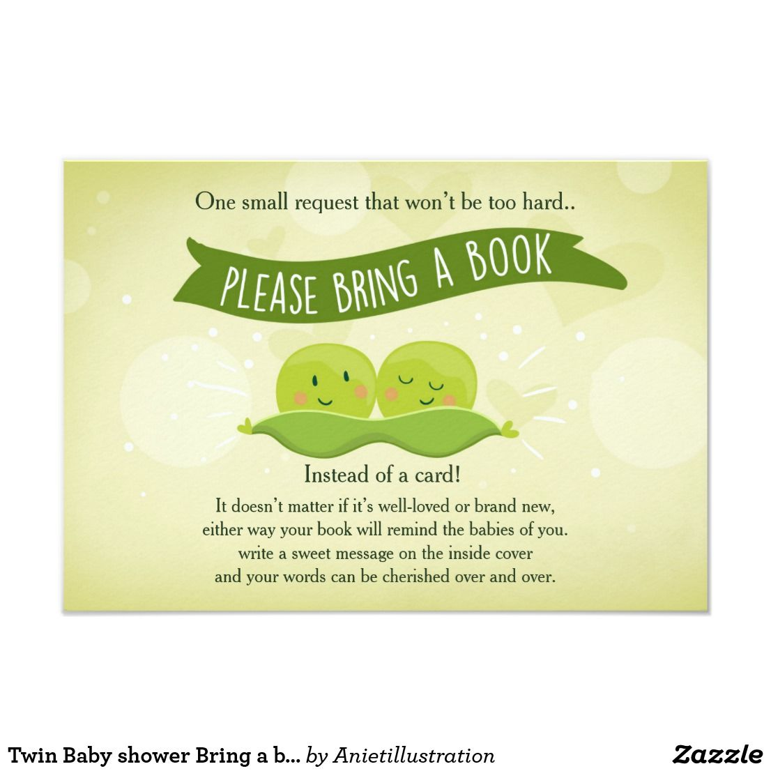 Twin Baby shower Bring a book Two Peas in a pod Card A perfect way ...