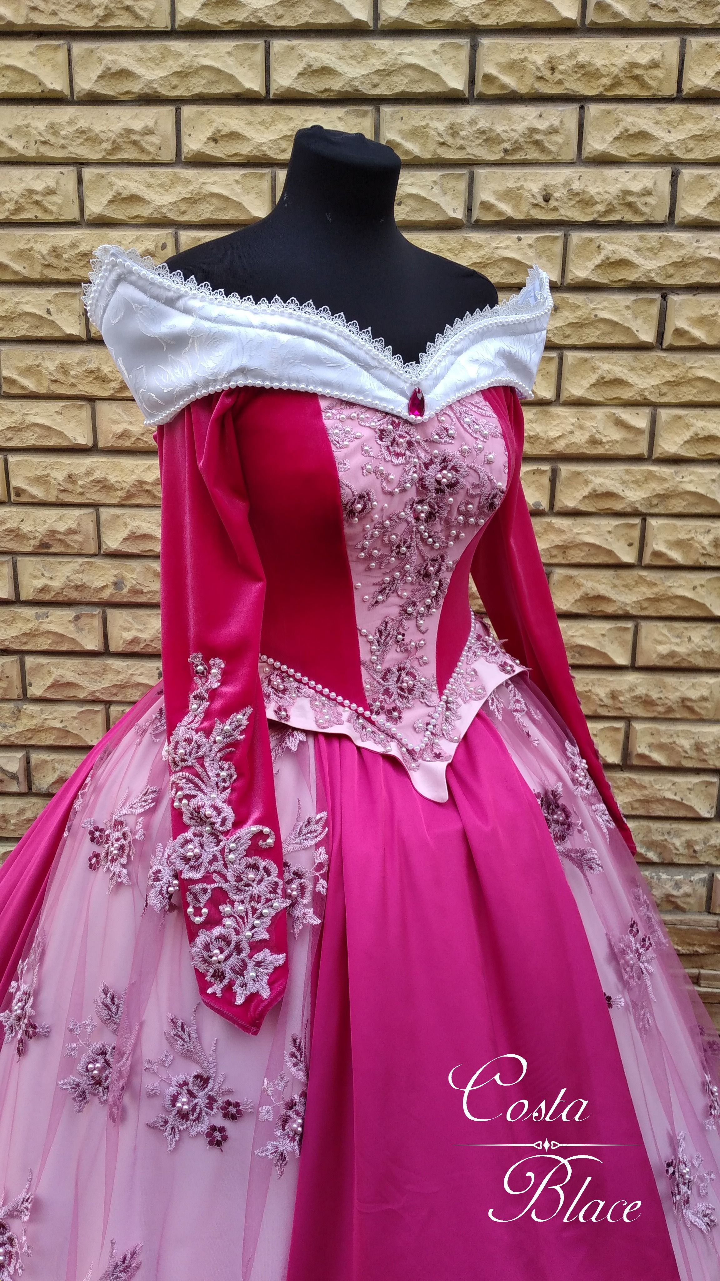 Princess Aurora dress decoration by Costa Blace sleeves embroidery diy halloween costume for adult w
