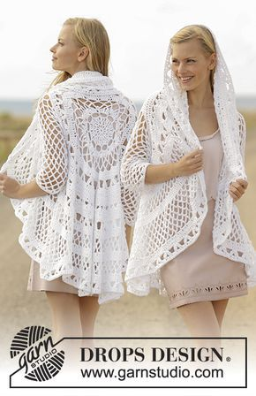 Crochet jacket worked in a circle with lace pattern in DROPS Paris ...