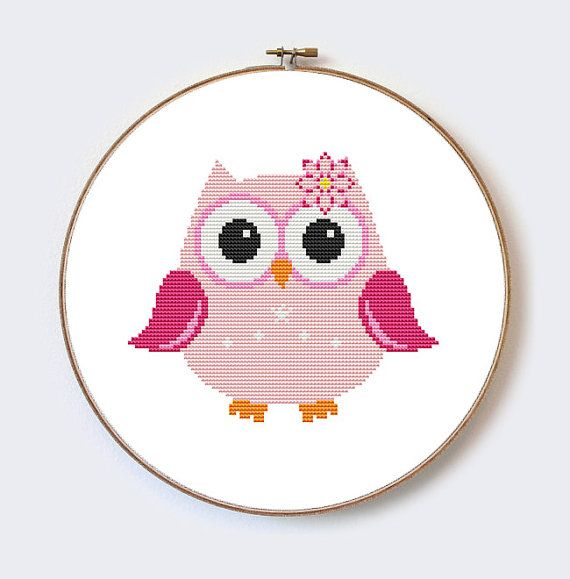Pink Owl modern cross stitch pattern - perfect for beginners - PDF ...