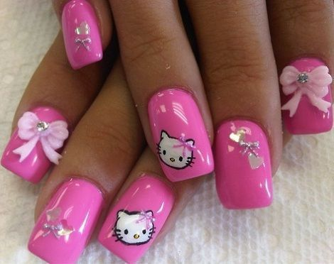 Hello Kitty Nails Uñas Decoradas De Hello Kitty Rosas Con Lazos 3d