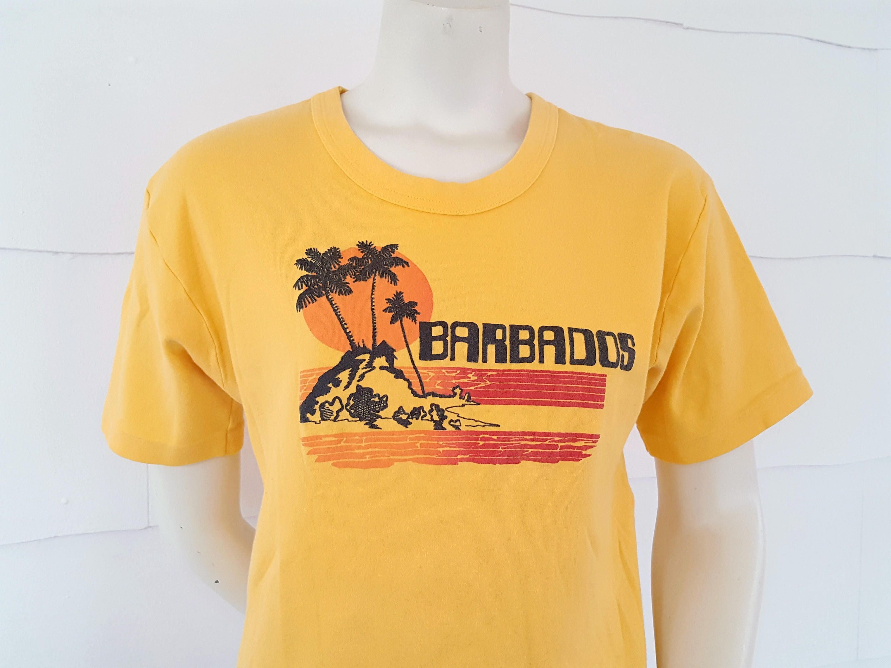 2d1c46037 80s Vintage Barbados T Shirt Bright Tropical Vacation Caribbean Island Souvenir  Tee Palm Trees Ocean by MODernThrowback on Etsy