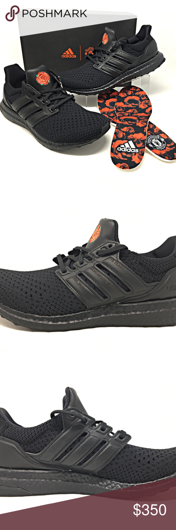 Adidas Manchester United Ultraboost Clima Sz 10 5 Adidas Manchester United Ultraboost Clima Rose All Black Sneakers Adidas Ultra Boost Shoes Sneakers Adidas